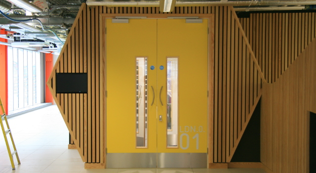 Sound absorbing Echofade Acoustic Joinery Baffles
