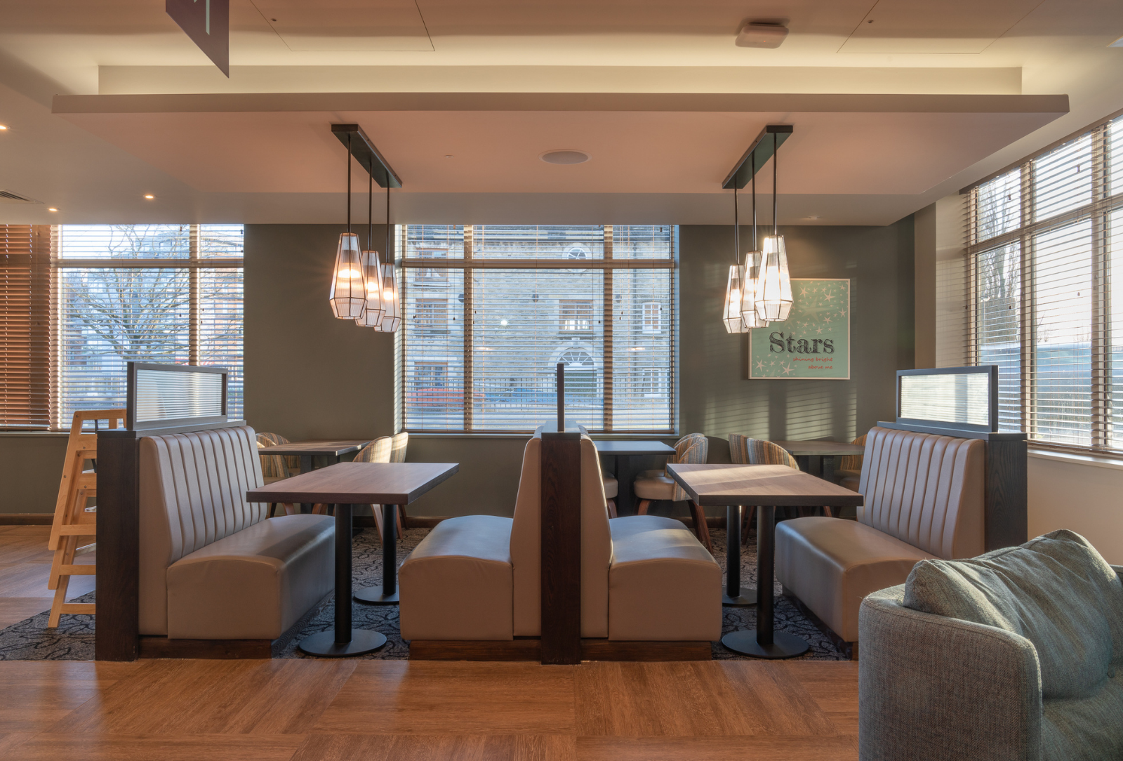 Commercial joinery at Premier Inn seating