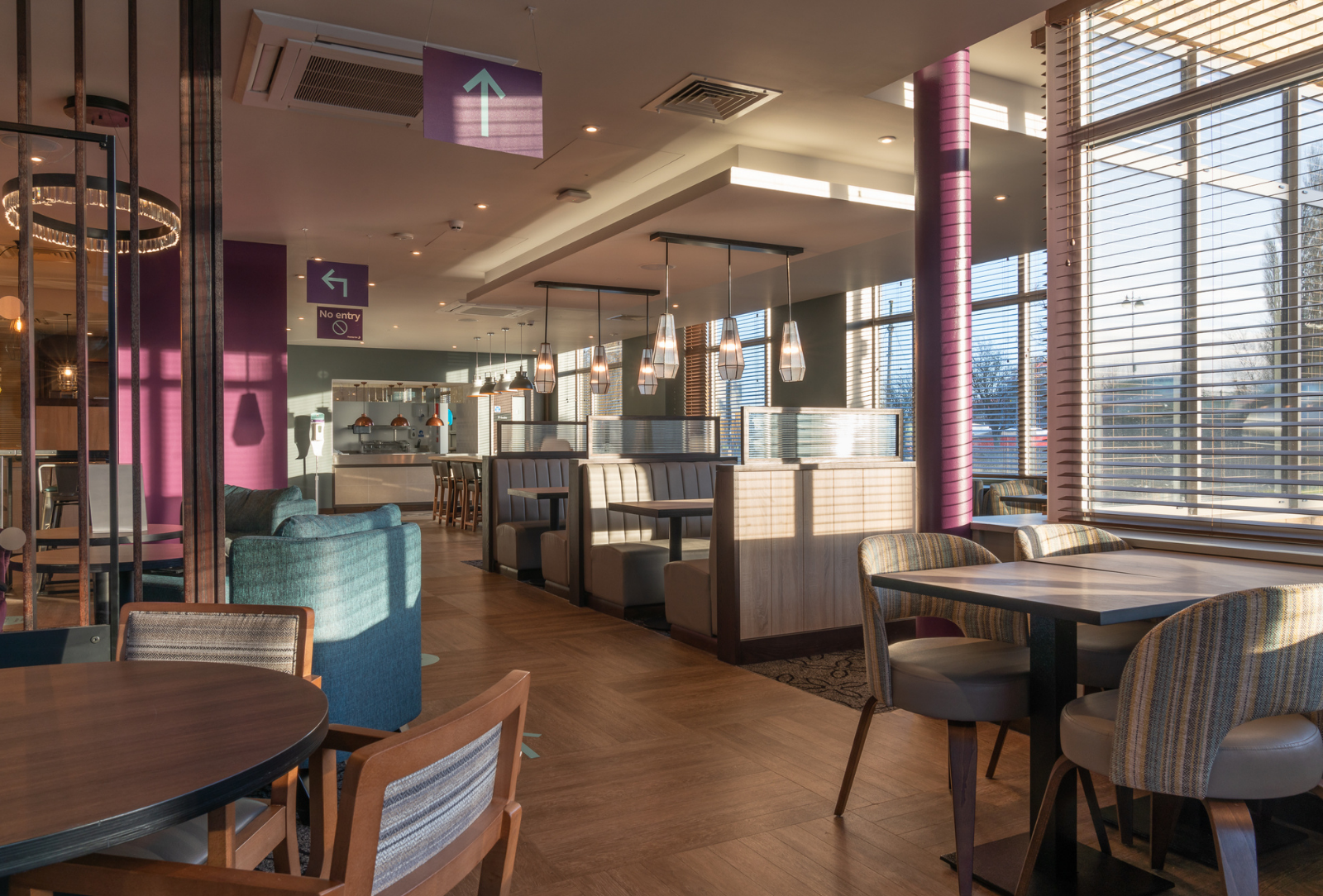 Commercial joinery at Premier Inn dining area