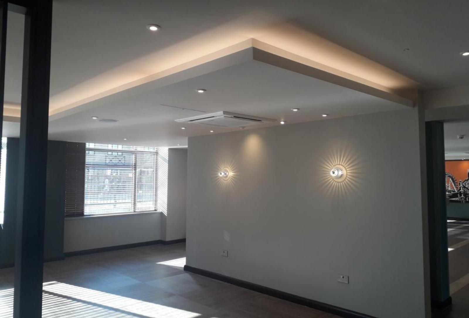 Commercial joinery at Premier Inn ceiling light feature